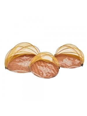 Cesto de Pão Flat Redondo Toast Amarelo - conj. 3 peças