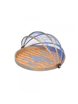Cesto de Pão Flat Redondo Natural Azul - conj. 3 peças