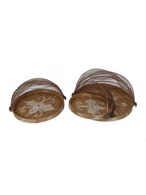 Cesto de Pão Flat Redondo Antique - conj. 3 peças