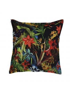Capa de Almofada Viscose Floral Preta